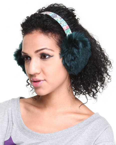 Drj Accessories Shoppe Women Faux Fur Headband W/Earcaps Green