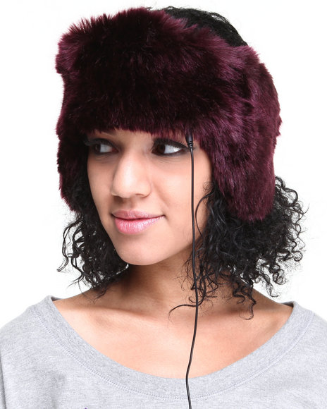 Drj Accessories Shoppe Women Faux Fur Headband W/Earcaps Headphones Purple