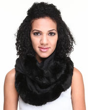 Gloves & Scarves - Faux Fur Trim Wool Blend Tubed Scarf