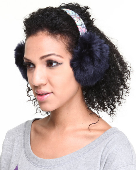 Drj Accessories Shoppe Women Faux Fur Earmuff W/ Graffiti Band Navy