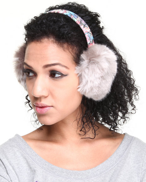 Drj Accessories Shoppe Women Faux Fur Earmuff W/ Graffiti Band Grey