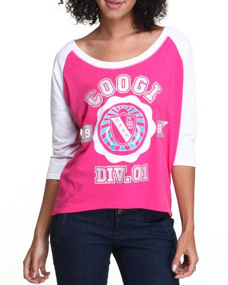 Coogi - Women Pink Crest Raglan Elbow Sleeve Tee