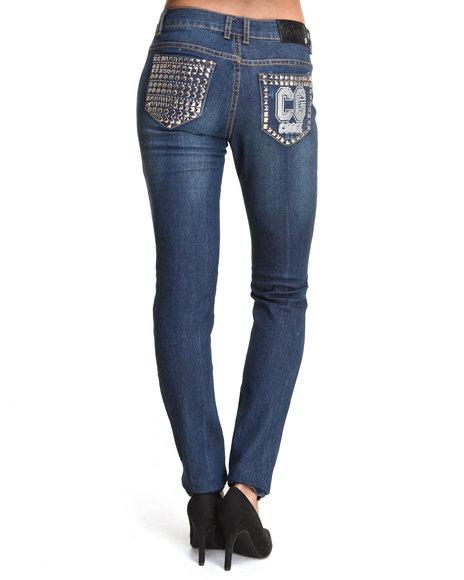COOGI - Women Dark Wash Studded Back Pocket Jean