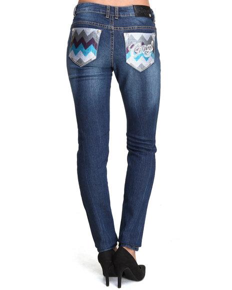 COOGI Dark Wash Zig Zag Back Pocket Jean