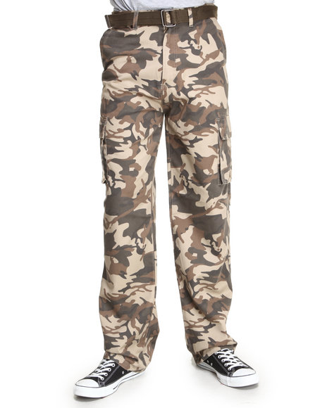 Basic Essentials - Men Brown Camo Cargo Pants With Belt