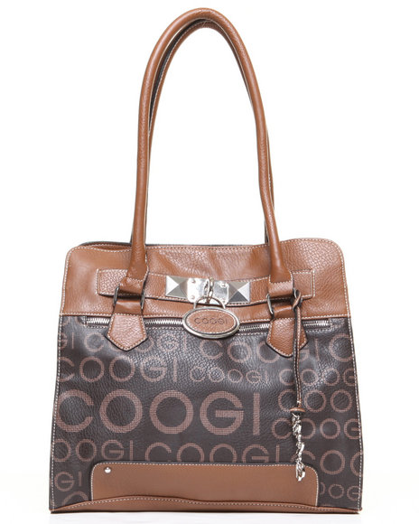 Coogi Women Signature Grid Print Satchel Handbag Brown 1SZ