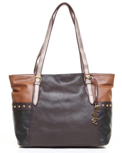 Coogi Melissa Colorblock Tote Handbag Brown