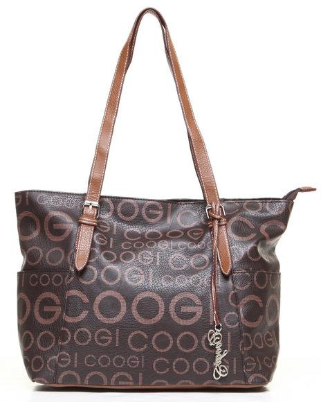 Coogi Melissa Signature Grid Print Handbag Brown