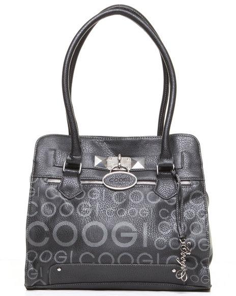 Coogi Women Signature Grid Print Satchel Handbag Black 1SZ