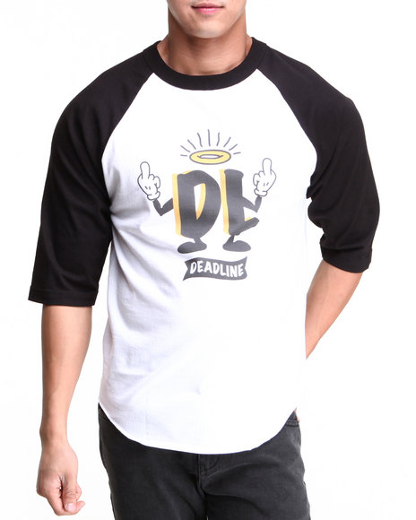 Deadline - Men Black,White Fuck Off 3/4 Sleeve Raglan Tee