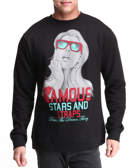 Famous Stars & Straps Black F N Right Crewneck Sweatshirt