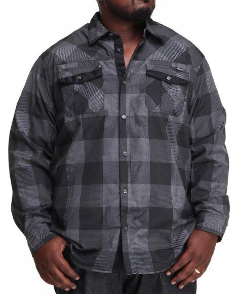 Mo7 Men Plaid Button Down Shirt W Solid Trim Pocket Detail BampT Black 4XLarge