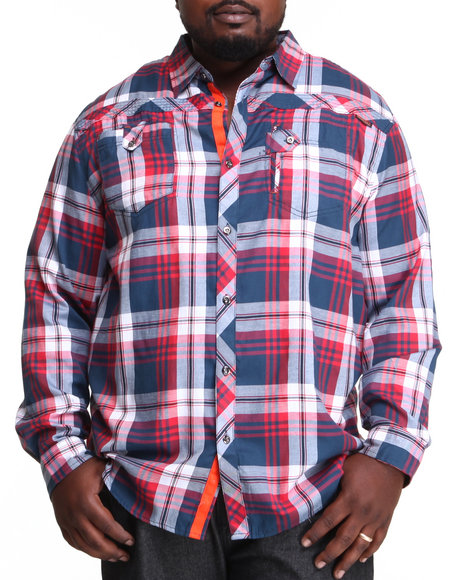 Mo7 - Men Navy Chatham Plaid Button Down Shirt (B&T)