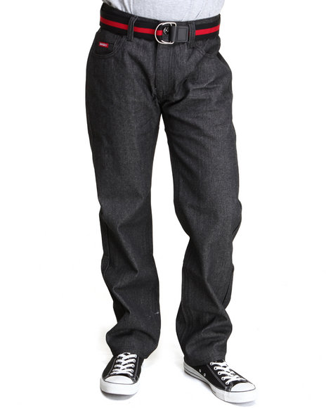 Enyce - Men Black,Red High Road Belted Denim Jeans