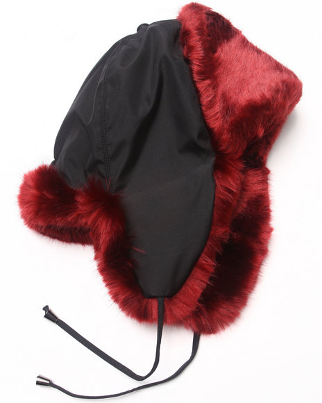 Ur-ID 222848 DRJ Accessories Shoppe - Men Red Faux Fur And Nylon Trooper Hat