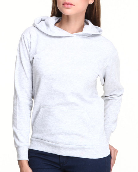 Basic Essentials - Women Grey Pullover French Terry Sweatshirt W/ Kangaroo Pockets