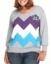 Black Friday Shop - Women - Long Sleeve Zig Zag Top (Plus)