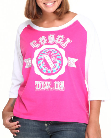 Coogi - Women Pink Crest Raglan Elbow Sleeve Tee (Plus)