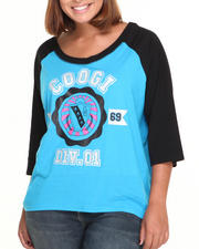 Tops - Crest Raglan Elbow Sleeve Tee (Plus)