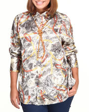 Fashion Lab - Chain Printed Button Down (plus)