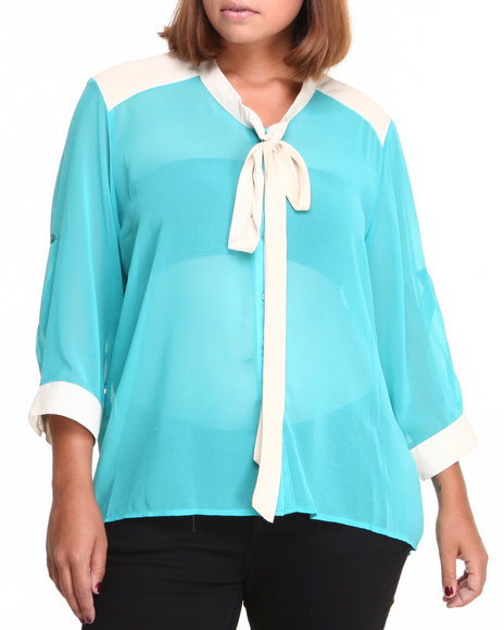 Fashion Lab - Women Teal Chiffon Hi-Lo Button Down W/Tie