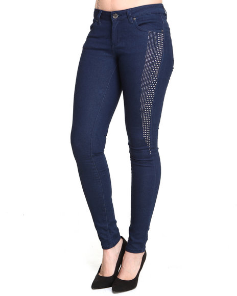 Basic Essentials - Women Indigo Skinny Super Stretch Jean Pants W/Studs