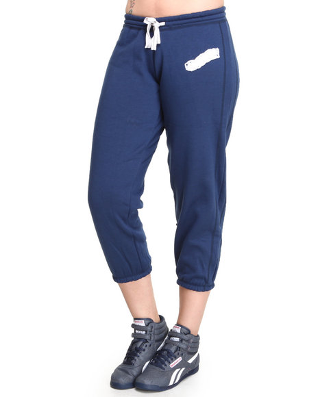 Basic Essentials - Women Navy Cropped Sweatpants