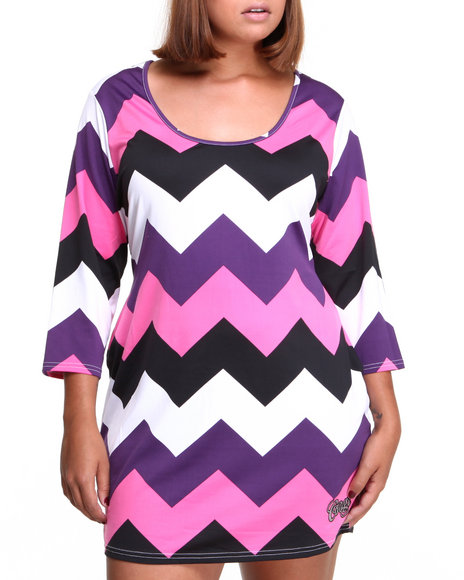 COOGI Dark Purple Zig Zag Dress (Plus Size)