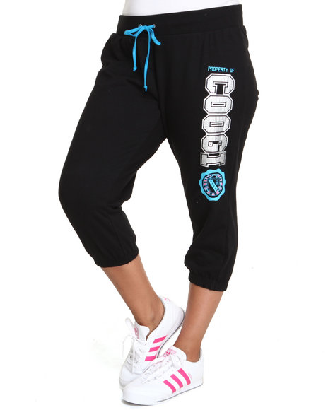 Coogi Women Slim Varsity Active Pant Plus Black 2X