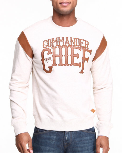 Parish - Men Off White Commander Crewneck Fleece Sweatshirt