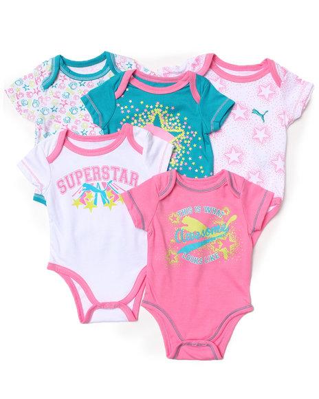 Puma Girls 5 Pack Bodysuits Newborn Light Pink 69 Mo