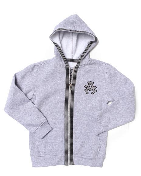 Akademiks - Boys Light Grey Signature Fleece Full Zip Hoodie (8-20)
