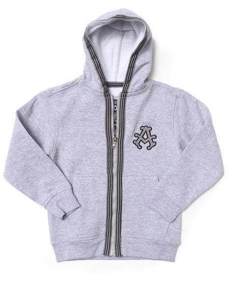 Akademiks - Boys Light Grey Signature Fleece Full Zip Hoodie (4-7)