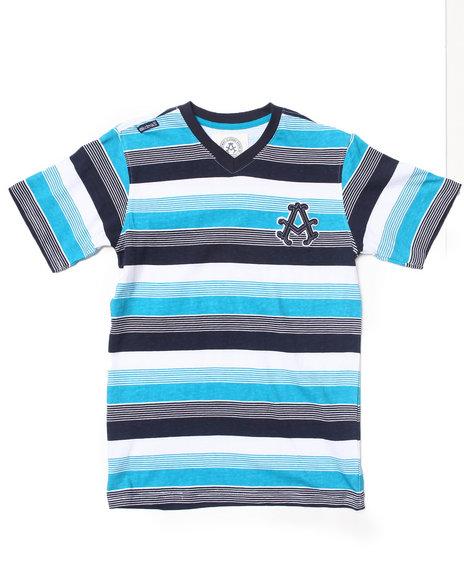 Akademiks - Boys Teal Striped V-Neck Tee (8-20)