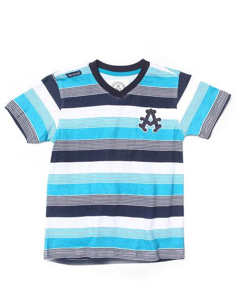 Akademiks - Boys Teal Striped V-Neck Tee (4-7X)