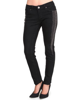 Basic Essentials - Skinny Super Stretch Jean Pants w/studs