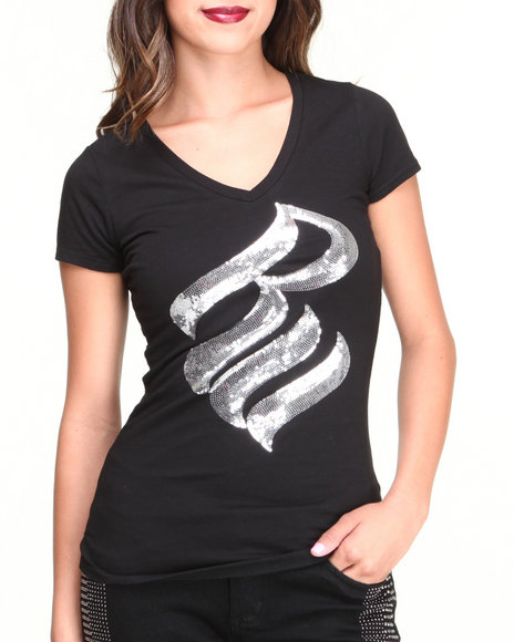 Rocawear Women Black, Silver S/S V-Neck Bling Sequin Logo Tee