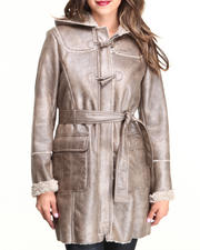 Outerwear - Long Belted Hooded Faux Shearling