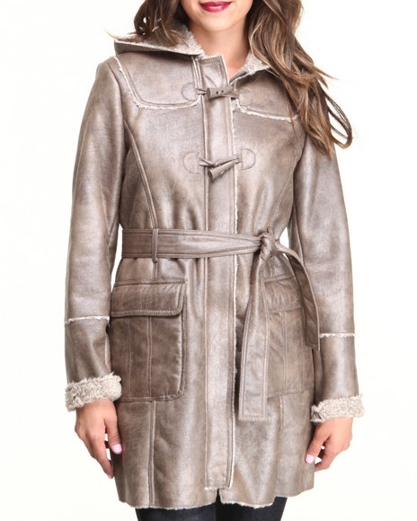 Kenneth Cole Tan Long Belted Hooded Faux Shearling