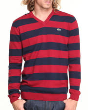 Lacoste - GLC Cotton Jersey Bar Stripe V-Neck Sweater