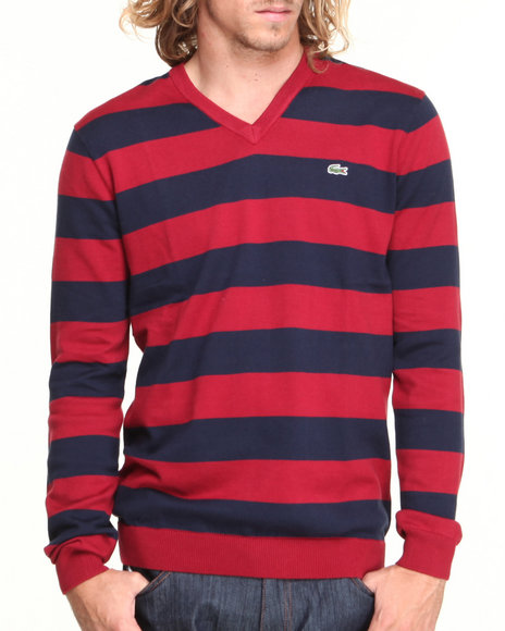 Lacoste - Men Navy,Red Glc Cotton Jersey Bar Stripe V-Neck Sweater