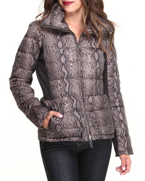 Kenneth Cole - Women Brown Python Print Ribbed Sides Down Coat