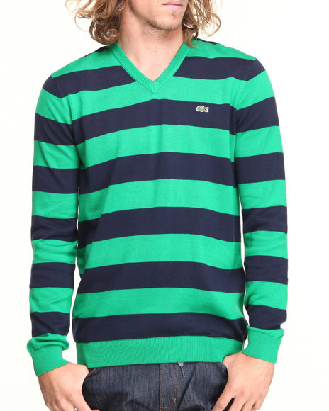 Lacoste Men Glc Cotton Jersey Bar Stripe VNeck Sweater Green 3XLarge