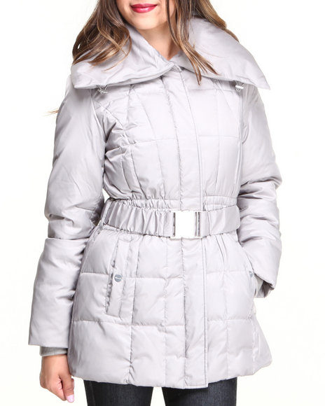 Kenneth Cole Grey Satin Fitted Belted Down Coat