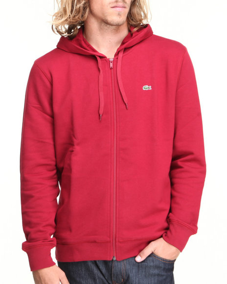 Lacoste - Men Red Glc Full Zip Cotton Fleece Hoodie