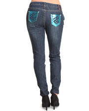 Skinny - Bling Sequin Pocket Trim Skinny Jean