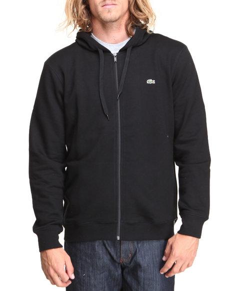 Lacoste Black Glc Full Zip Cotton Fleece Hoodie