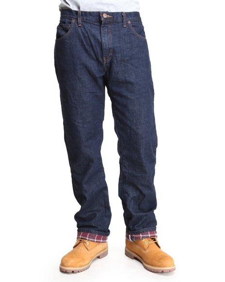 Dickies - Men Dark Wash Relaxed Straight Fit Flannel Lined Denim Jean