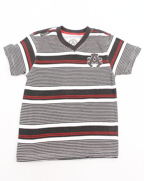 Akademiks - Boys Grey Striped V-Neck Tee (8-20)
