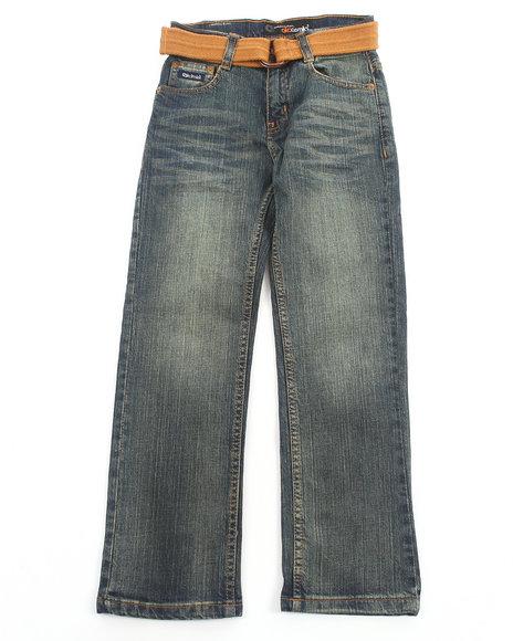 Akademiks - Boys Light Wash Belted Fan Pocket Jeans (8-20)